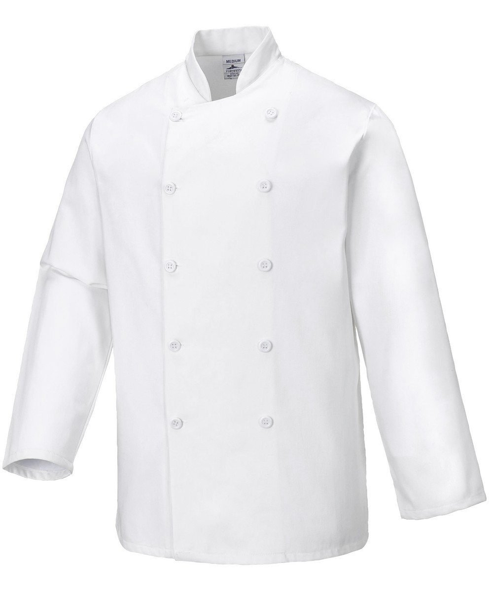 PPG Workwear Portwest Sussex Chefs Jacket C836 White Colour with Long Sleeves