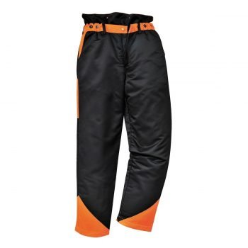 PPG Workwear Portwest Oak Chainsaw Trousers CH11 Black and Orange Colour