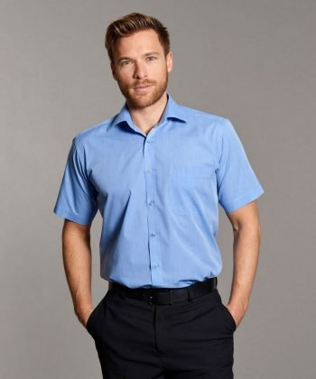 Disley Mens End on End Shirt with Cutaway Collar Light Blue Colour