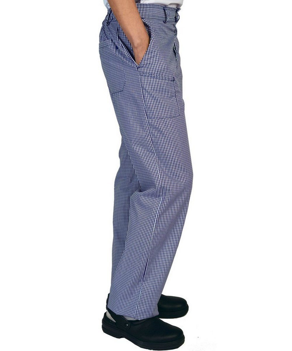 Dennys Jean Cut Chefs Trousers DC02 Small Blue Check Colour Side View