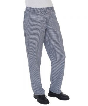 Dennys Fully Elasticated Chefs Trousers DC18H Small Blue Check Colour