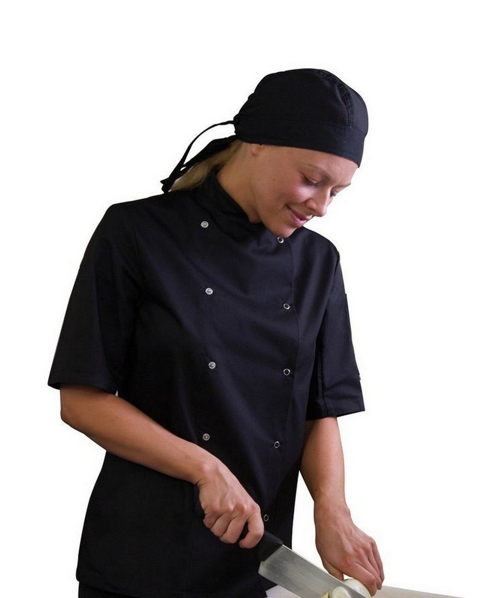 PPG Workwear Dennys AFD Thermo Cool Chefs Jacket DD08AFD Black Colour Short Sleeve