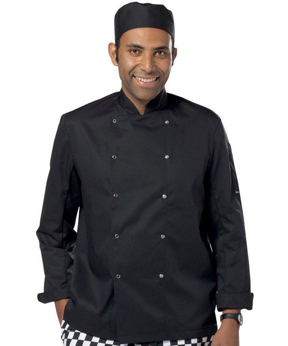 PPG Workwear Dennys Lightweight Long Sleeve Chefs Jacket DD08C Black Colour