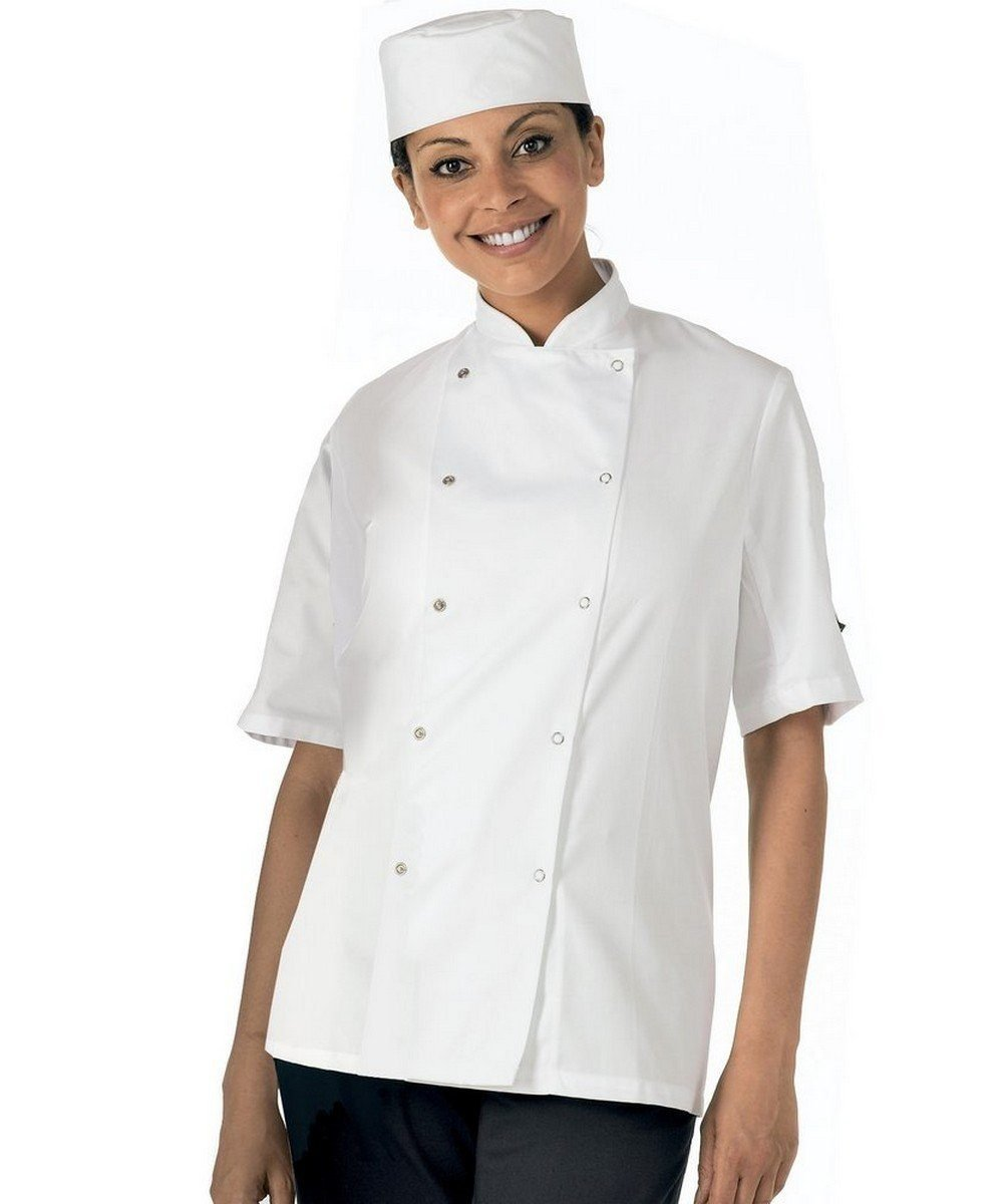 PPG Workwear Dennys Lightweight Short Sleeve Chefs Jacket DD08ES White Colour