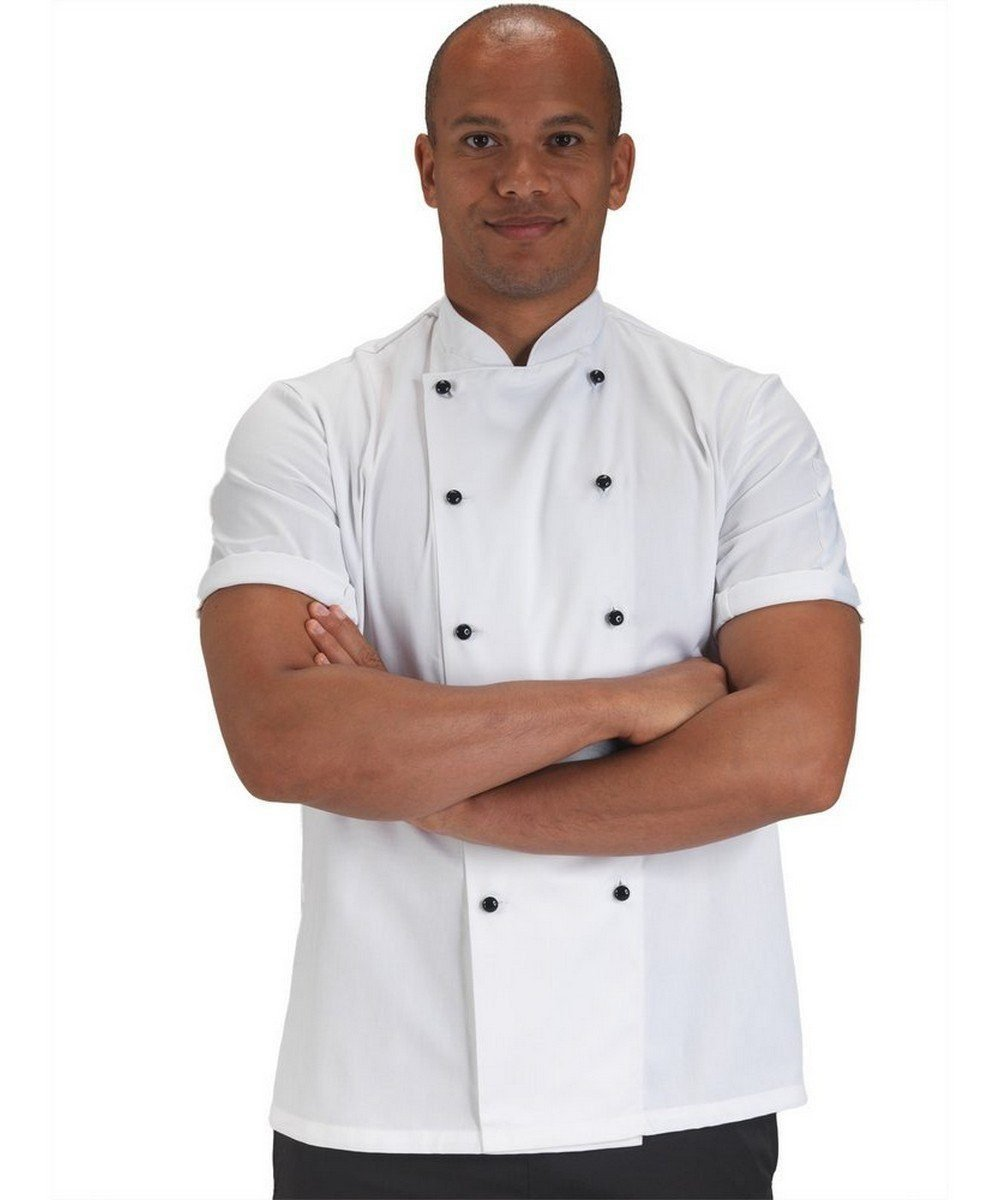 PPG Workwear Dennys Removable Stud Chefs Jacket DD20 White Colour Short Sleeve
