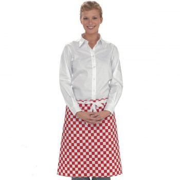 Dennys Check Waist Apron DP46 Red and White Check Colour
