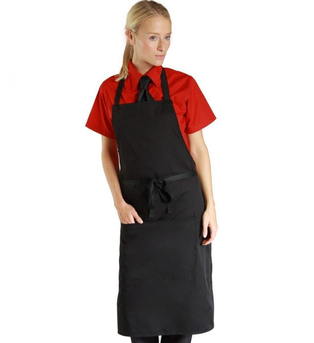 PPG Workwear Dennys Narrow Bib Apron With Pocket DP55CNQ Black Colour