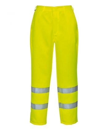 PPG Workwear Portwest Hi Vis Poly Cotton Trousers E041 Yellow Colour