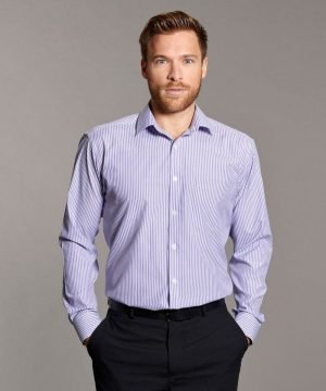 PPG Workwear Disley Mens Stripe Shirt with Classic Collar Lilac Colour Long Sleeve