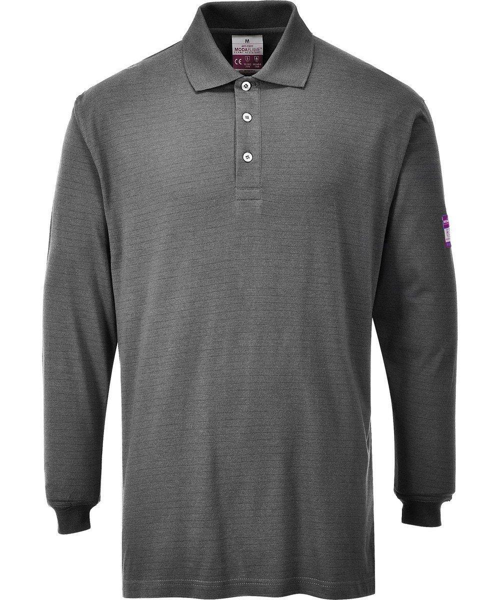 PPG Workwear Portwest Flame Retardant Anti-Static Polo Shirt FR10 Grey Colour