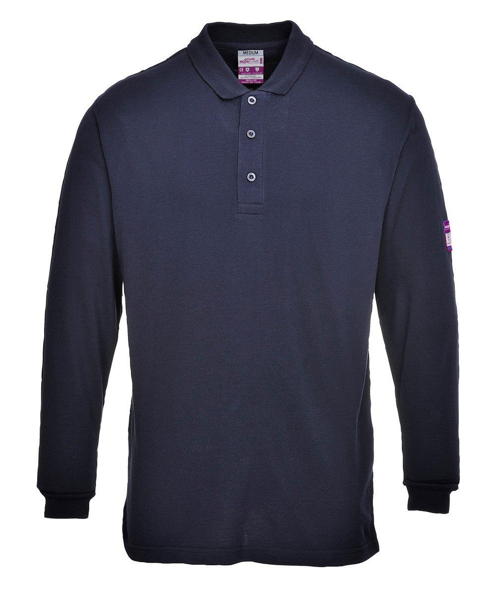 PPG Workwear Portwest Flame Retardant Anti-Static Polo Shirt FR10 Navy Blue Colour
