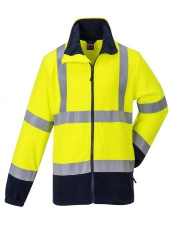 Portwest FR Anti Static Hi Vis Fleece FR31 Yellow and Navy Blue Colour