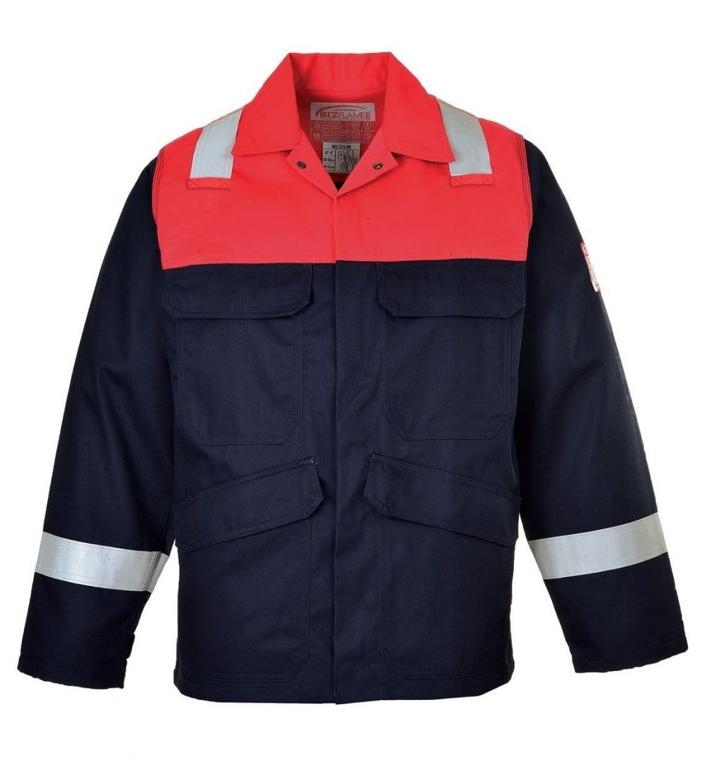 Portwest Flame Retardant Anti-Static Two-Tone Jacket FR55 Navy Blue and Red Colour