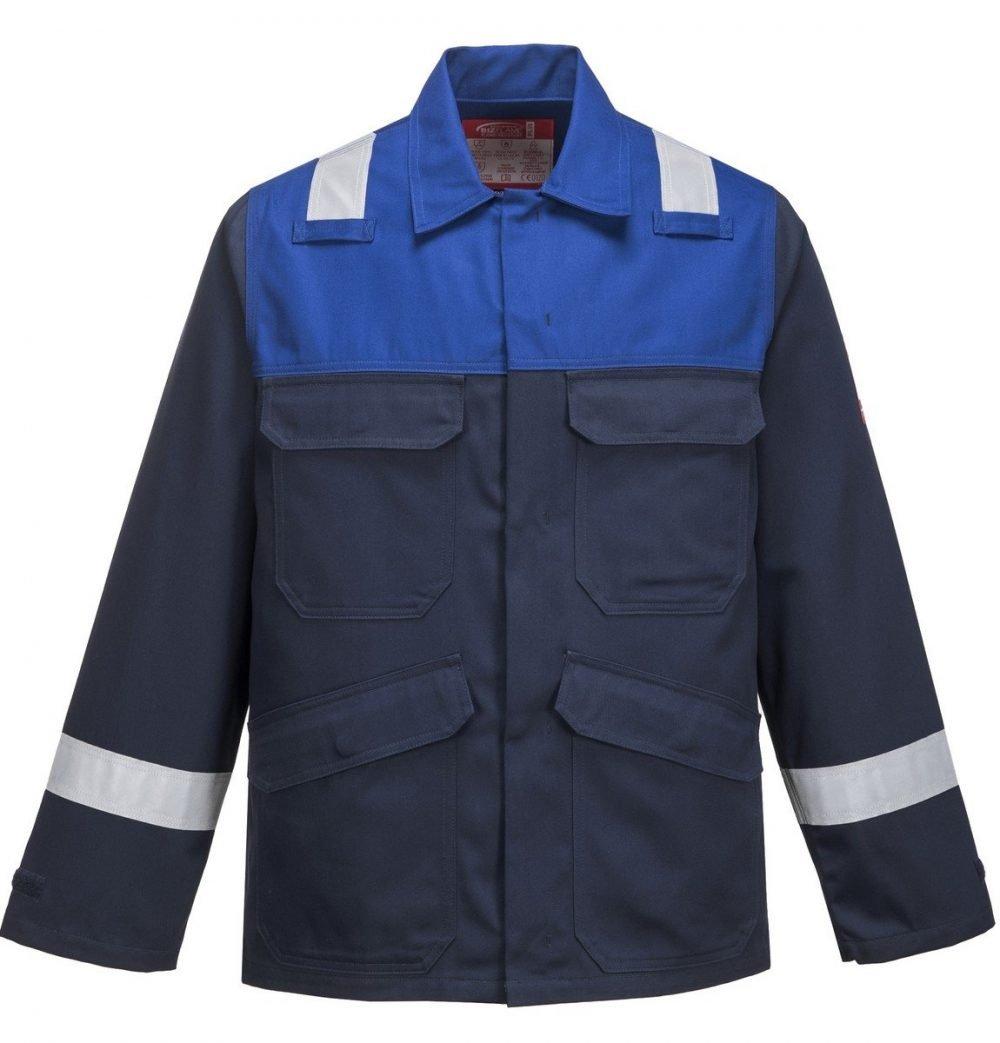Portwest Flame Retardant Anti-Static Two-Tone Jacket FR55 Navy Blue and Royal Blue Colour