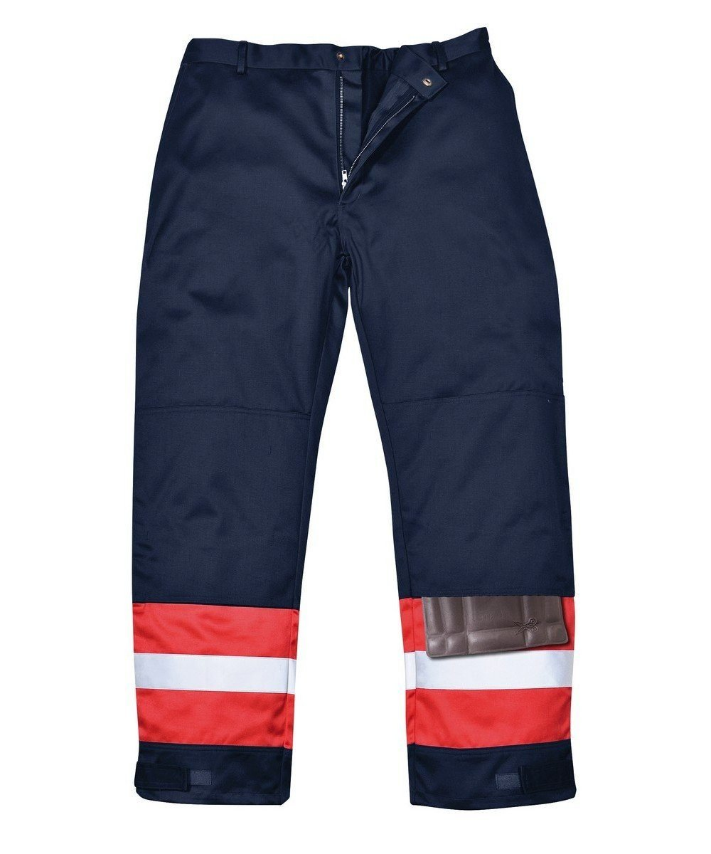 PPG Workwear Portwest Flame Retardant Anti-Static Two-Tone Trousers FR56 Navy Blue and Red Colour