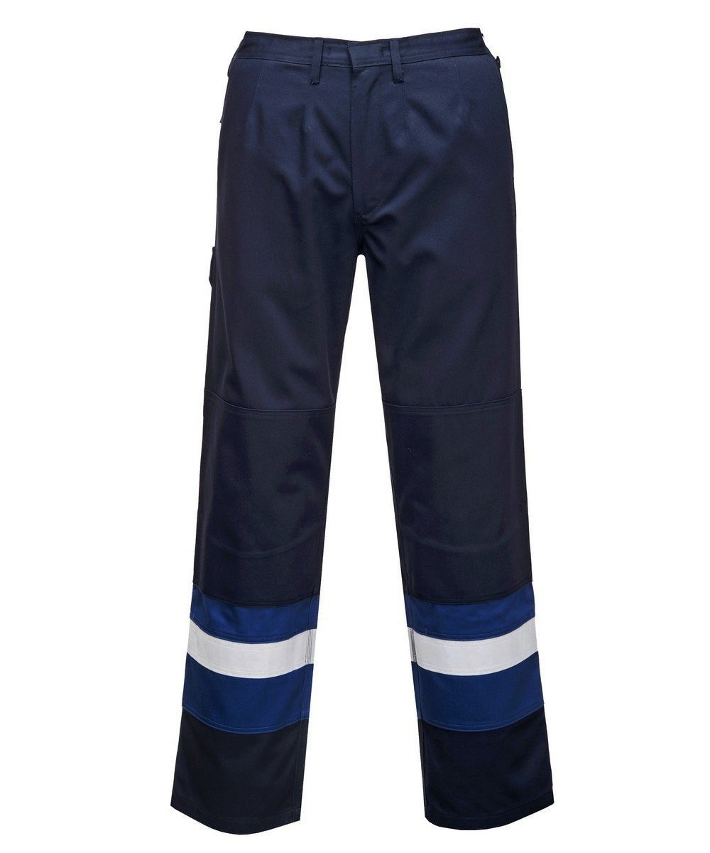 Portwest Flame Retardant Anti-Static Two-Tone Trousers FR56 Navy Blue and Royal Blue Colour