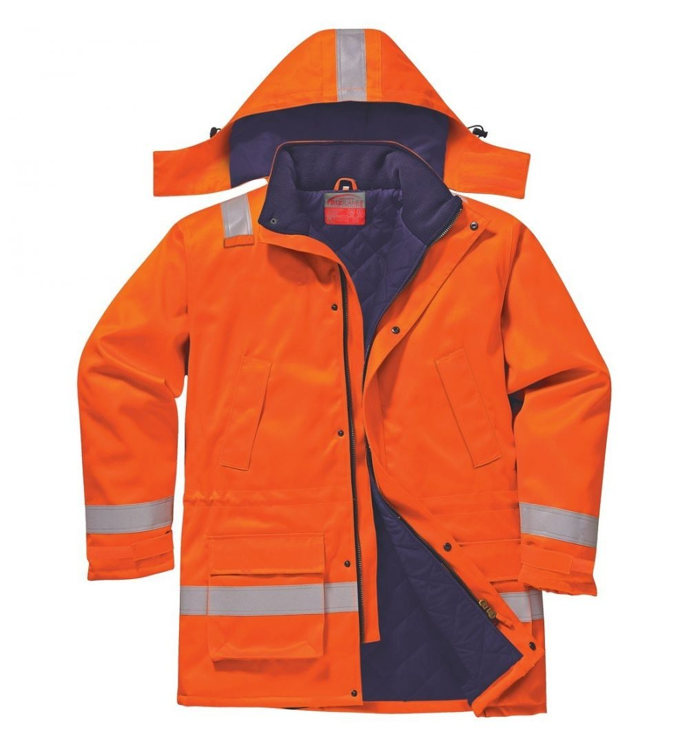 PPG Workwear Portwest Flame Retardant Anti-Static Winter Jacket FR59 Orange Colour