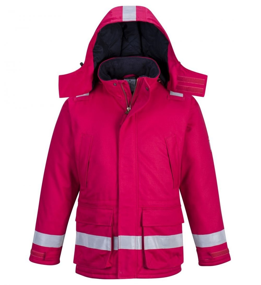 PPG Workwear Portwest Flame Retardant Anti-Static Winter Jacket FR59 Red Colour