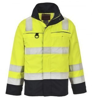 Portwest Hi Vis Multi-Norm FR Anti-Static Jacket FR61 Yellow and Navy Blue Colour