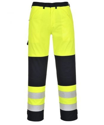 Portwest Hi Vis Multi-Norm FR Anti-Static Trousers FR62 Yellow and Navy Blue Colour