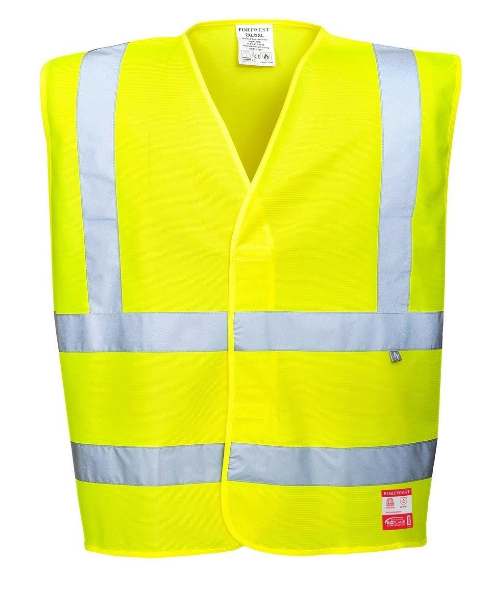 PPG Workwear Portwest Anti Static Flame Retardant Hi Vis Vest FR71 Yellow Colour
