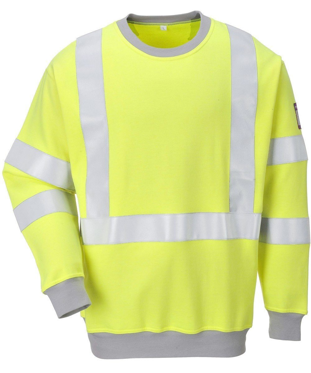 Portwest Flame Retardant Hi Vis Anti-Static Sweatshirt FR72 Yellow Colour