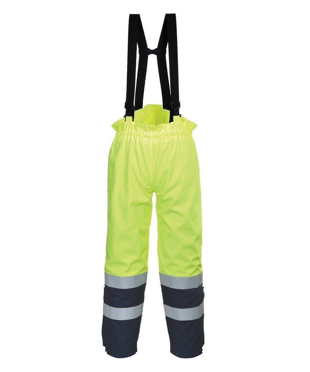 PPG Workwear Portwest FR Bizflame Multi Arc Hi Vis Trousers FR78 Yellow and Navy Blue Colour