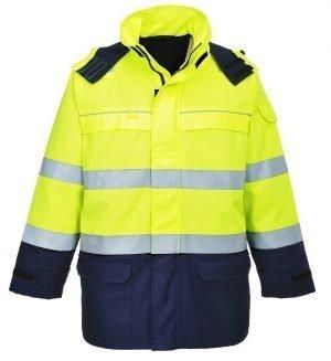 Portwest FR Bizflame Multi Arc Hi Vis Jacket FR79 Yellow and Navy Blue Colour