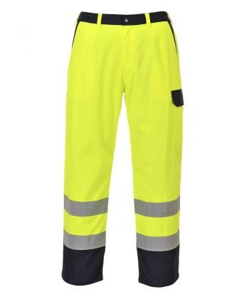 PPG Workwear Portwest Hi Vis Bizflame Pro FR Anti-Static Trousers FR92 Yellow and Navy Blue Colour