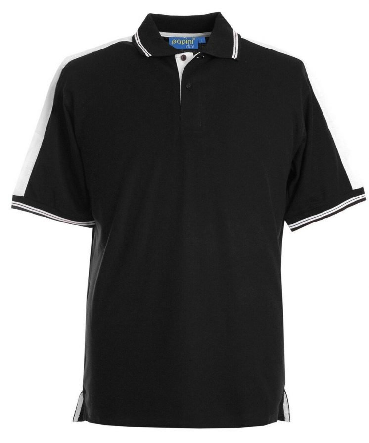 Papini Elite Polo Shirt EL1 Black and White Colour