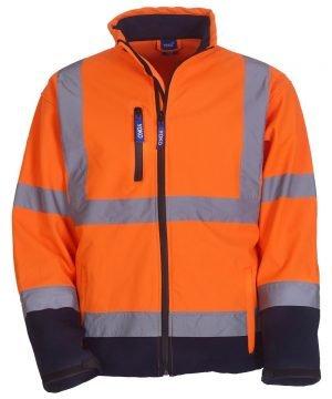 PPG Workwear Yoko Hi Vis Softshell Jacket HVK09 Orange and Navy Blue Colour