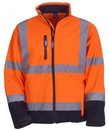 PPG Workwear Yoko Hi Vis Softshell Jacket HVK09 Orange and Navy Blue Colour