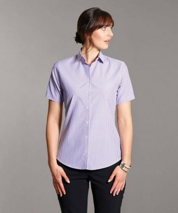 Disley Womens Stripe Blouse Lilac Colour Short Sleeve