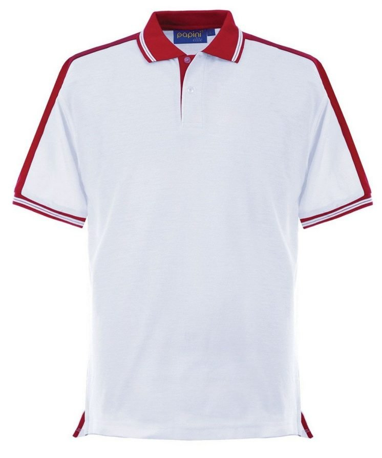 Papini Elite Polo Shirt EL1 White and Red Colour