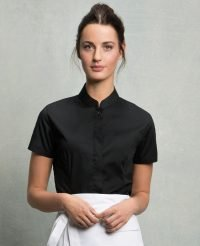 c8ec4faba Bargear Ladies Short Sleeved Mandarin Collar Bar Shirt KK736 Black Colour