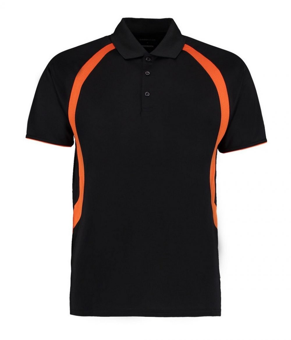 PPG Workwear Gamegear Mens Cooltex Riviera Polo Shirt KK974 Black and Orange Colour