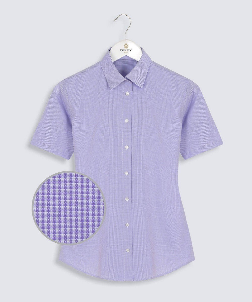 Disley Womens Houndstooth Classic Collar Blouse Short Sleeve