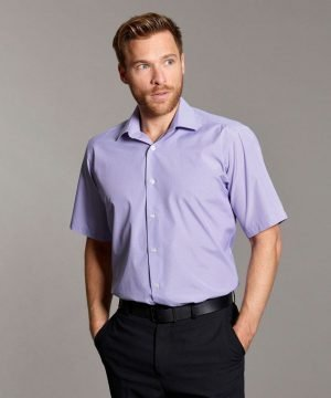 Disley Mens Houndstooth Check Shirt Lilac and White Colour Short Sleeve