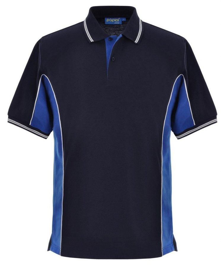 Papini Elite Polo Shirt EL1 Navy Blue Royal Blue and White Colour