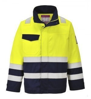 PPG Workwear Portwest Hi-Vis Modaflame FR Anti-Static Jacket MV25 Yellow and Navy Colour