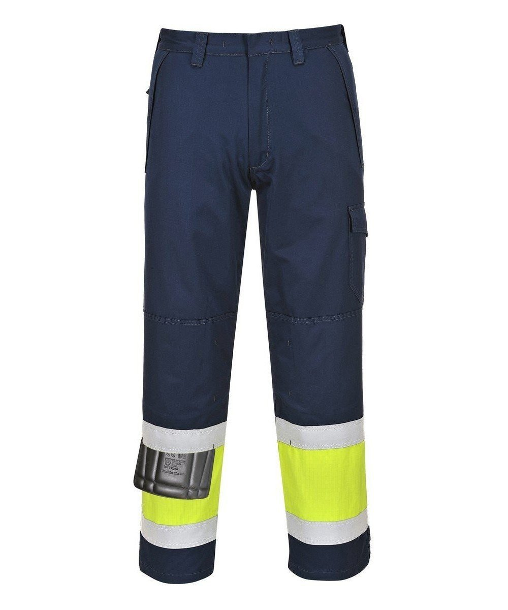 PPG Workwear Portwest Hi-Vis Modaflame FR Anti-Static Trouser MV26 Navy Blue and Yellow Colour
