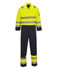 PPG Workwear Portwest Hi-Vis Modaflame FR Anti-Static Coverall MV28 Yellow and Navy Blue Colour