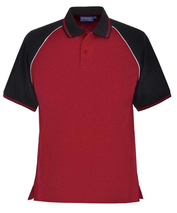 Papini Elite Polo Shirt EL1 Red Black and White Colour
