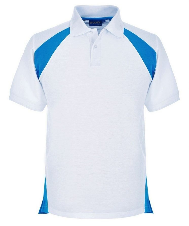 Papini Elite Polo Shirt EL1 White and Cyan Colour