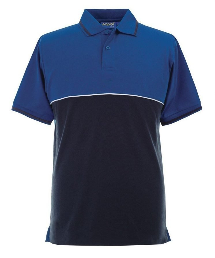 Papini Elite Polo Shirt EL1 Royal Blue Navy Blue and White Colour