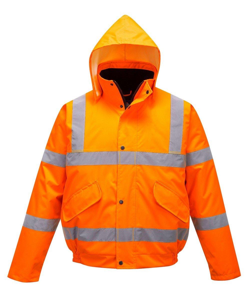 Portwest Orange Hi Vis Bomber Jacket S463 Orange Hood