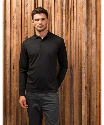 Premier Long Sleeve Coolchecker Polo Shirt PR617 Black Colour