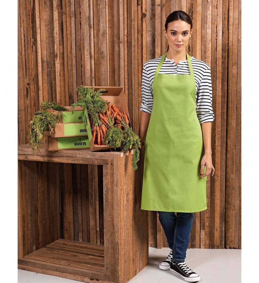 PPG Workwear Premier Cotton Bib Apron Without Pocket PR102 Lime Colour