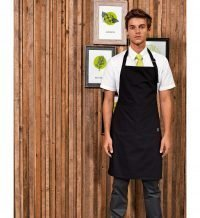 PPG Workwear Premier Fairtrade Bib Apron With Pocket PR112 Black Colour