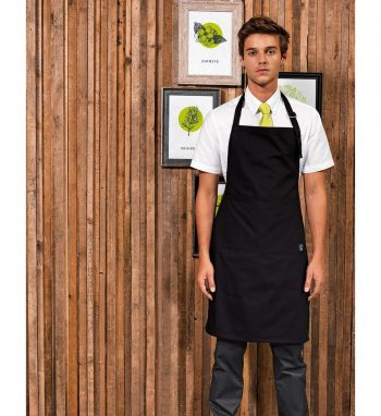 PPG Workwear Premier Fairtrade Bib Apron With Pocket PR112 Black Colour